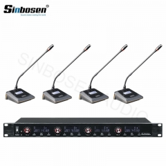 Sinbosen UR-6004  high quality professional wireless one for four conference microphone for meeting